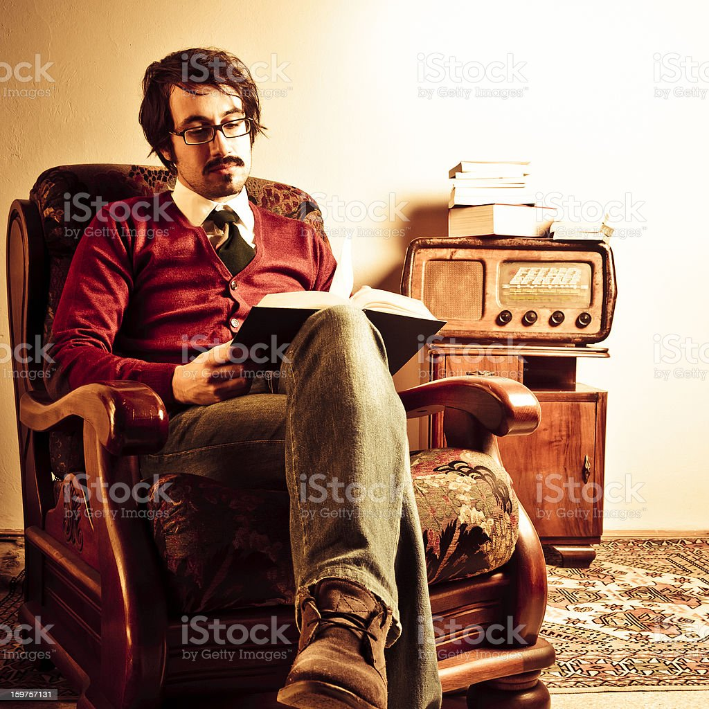 Young teacher at home. Retro revival stock photo