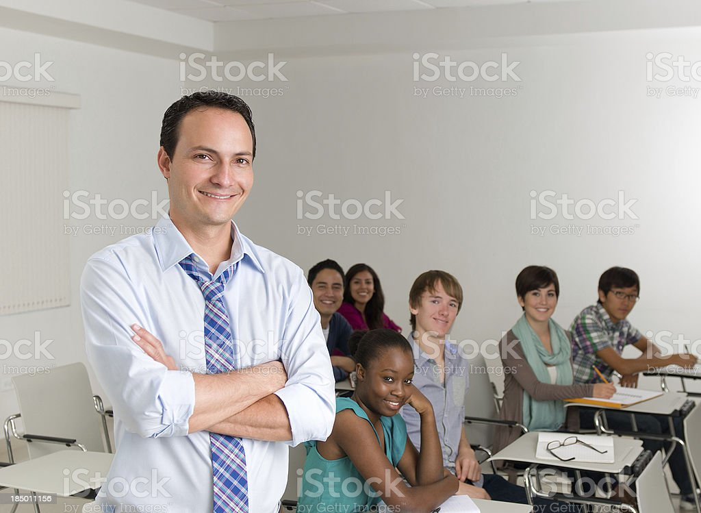 Young teacher with students royalty-free stock photo