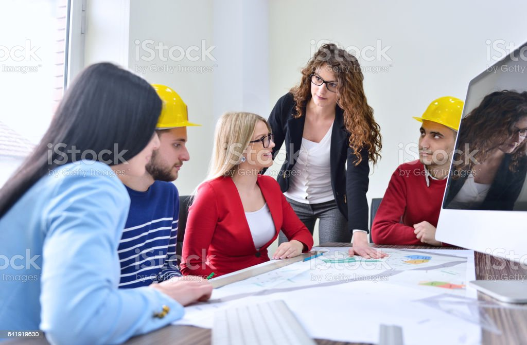 Young team have a Meeting In Architects Office stock photo