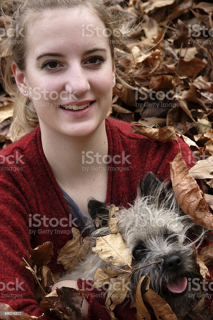 young teen female and dog portrait royalty-free stock photo