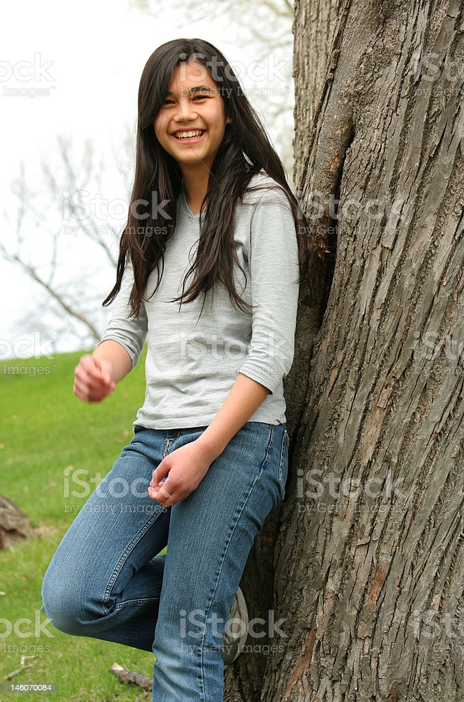 Young teen girl outdoors royalty-free stock photo