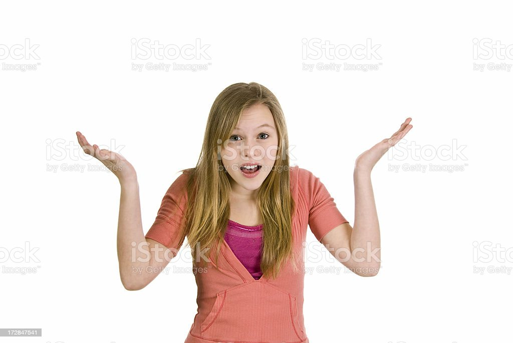 Young Teen Model with Arms Raised royalty-free stock photo