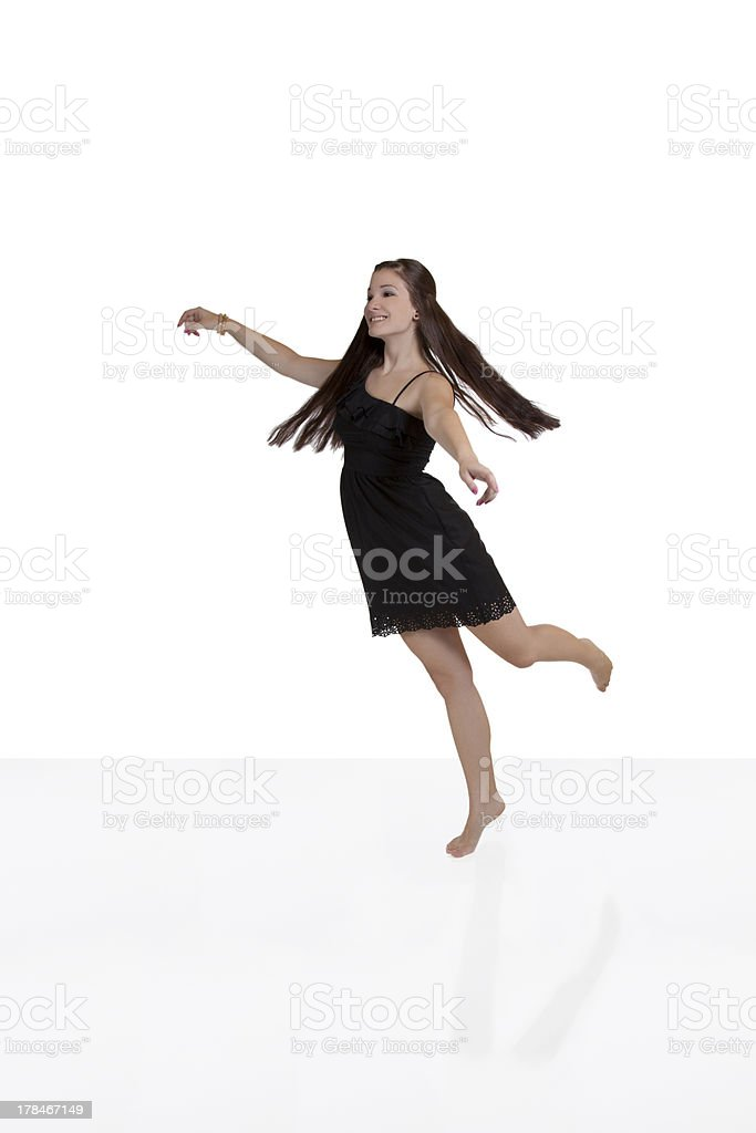 Young Teen Woman Caucasian Black Dress Smiling royalty-free stock photo