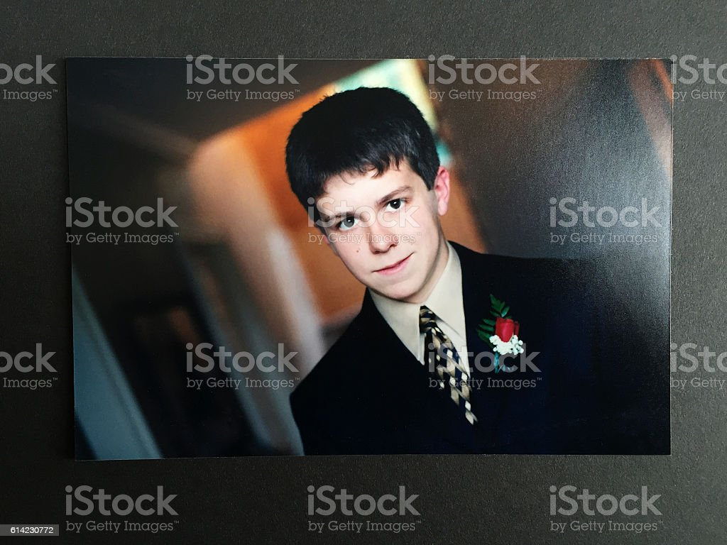 Young Teenage Boy in Suit stock photo