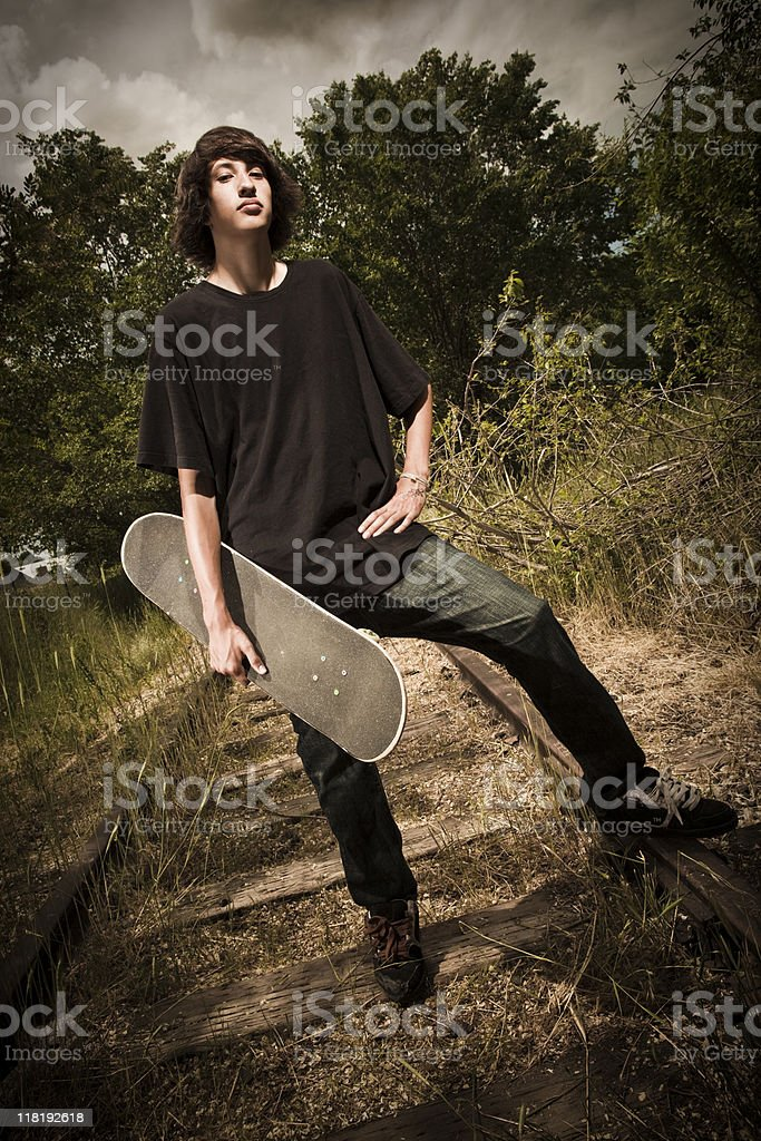 Young Teenage Boy Skateboarder stock photo