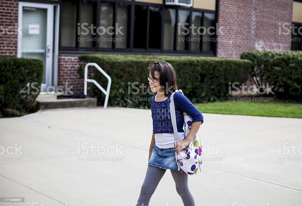 Young teenage girl on the school way royalty-free stock photo