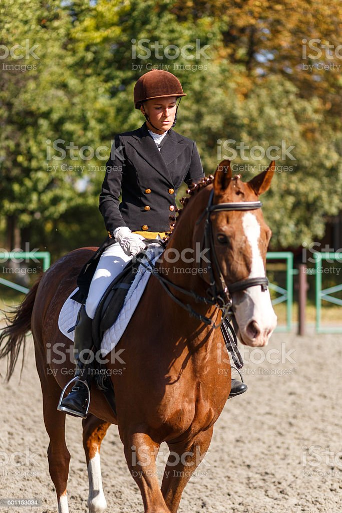 Young teenage girl riding horse. Equestrian sport stock photo