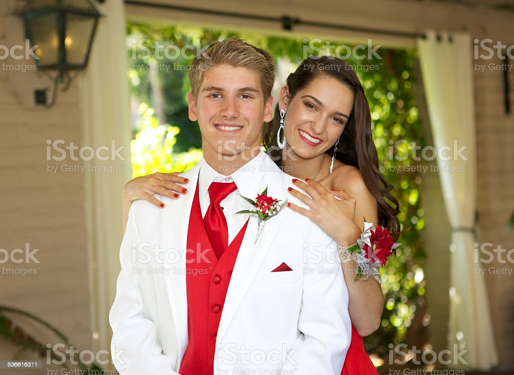 Young Teenage Prom Couple stock photo