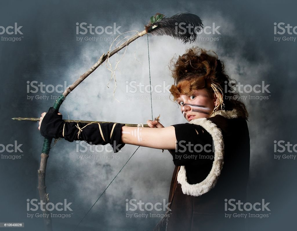 young teenager dressed as warrior stock photo