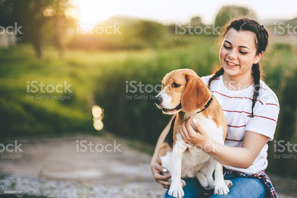 young teenager girl with her best friend the dog stock photo