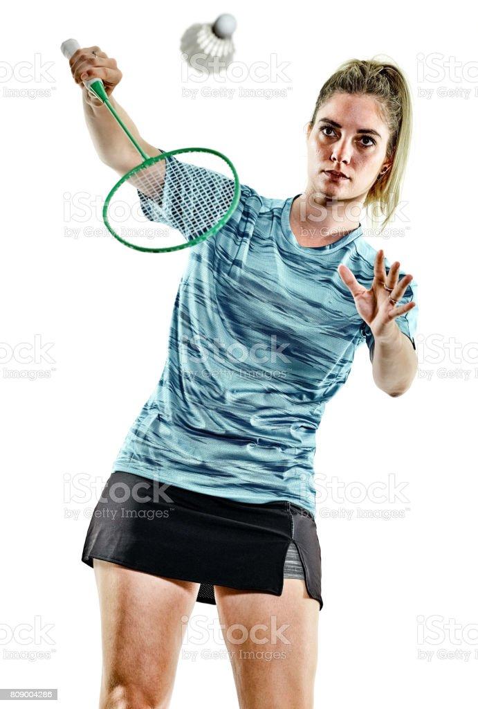 young teenager girl woman Badminton player isolated stock photo
