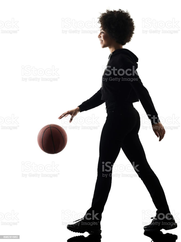 young teenager girl woman basketball players shadow silhouette i stock photo