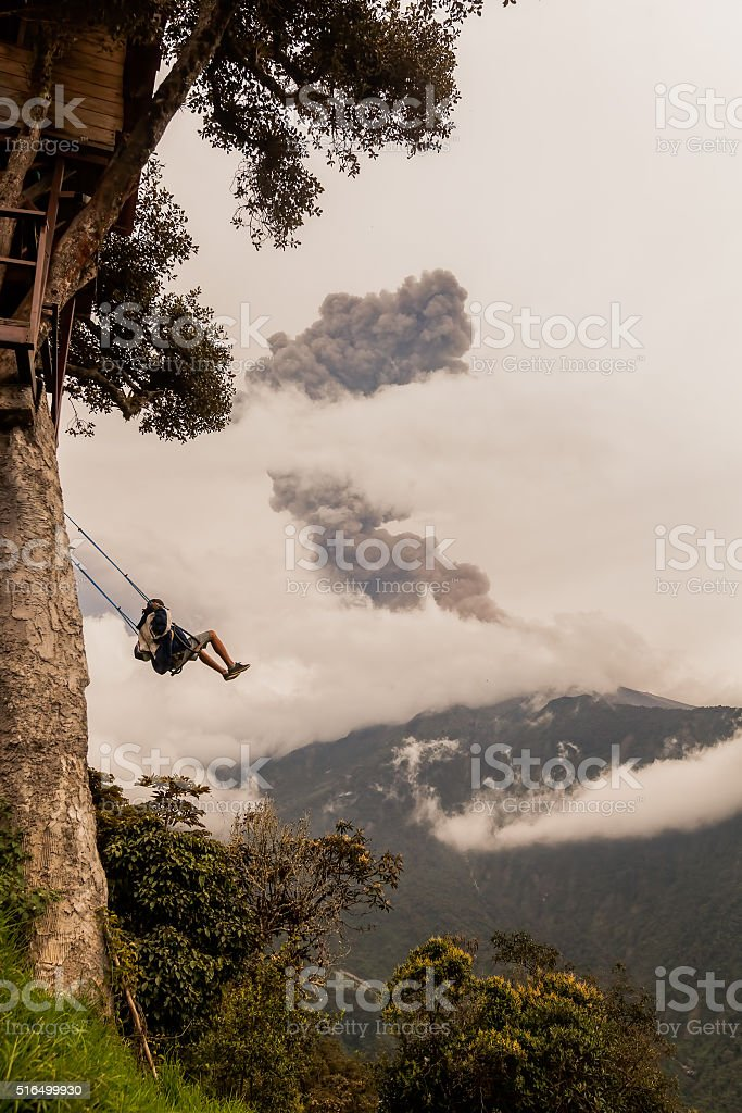 Young Teenager Man On The Casa Del Arbol Swing stock photo