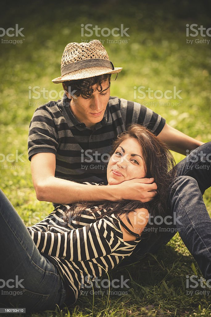 young teenagers couple flirting royalty-free stock photo