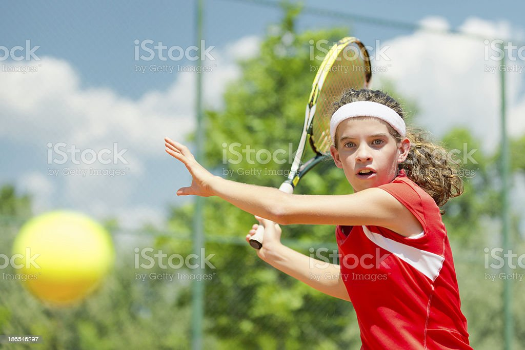 Young tennis champion royalty-free stock photo