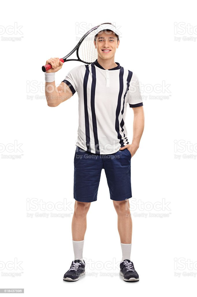 Young tennis player holding a racket stock photo