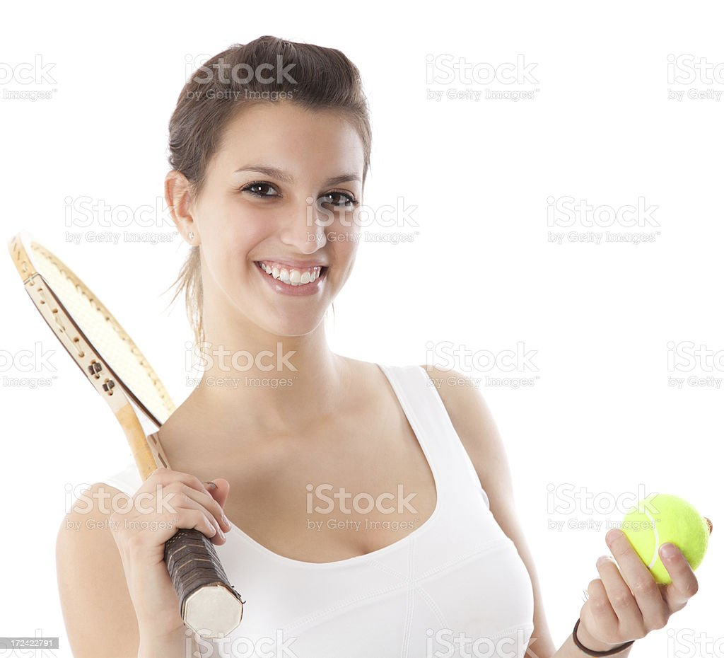 Young Tennis Player holding racket and ball royalty-free stock photo