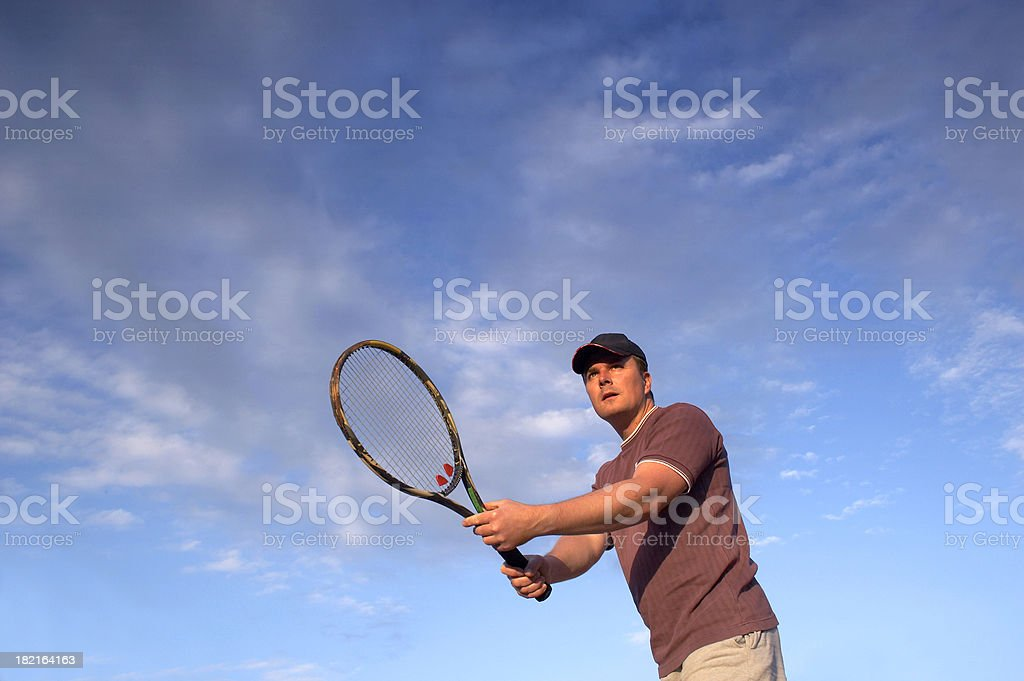 Young tennis player waiting ball on the net royalty-free stock photo