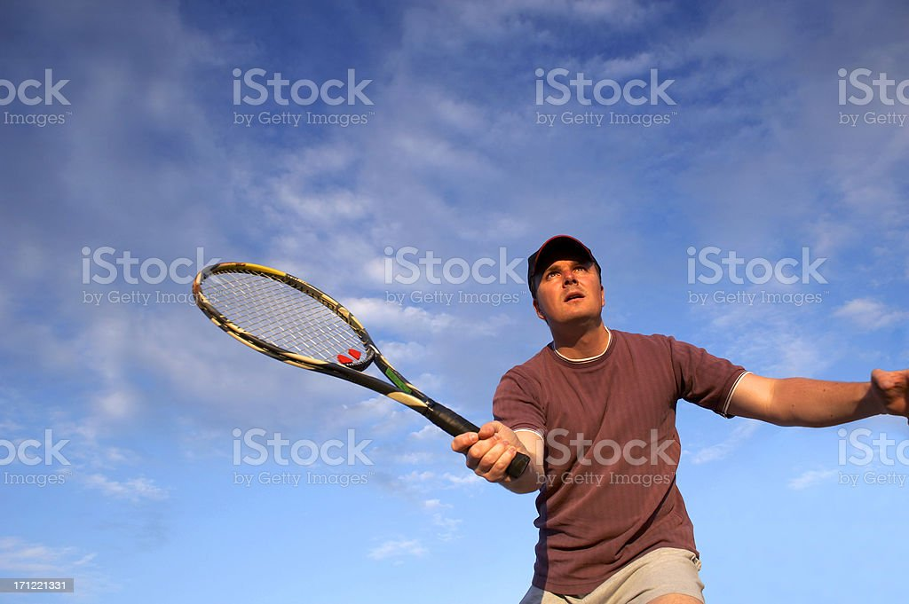 Young tennis player waitng ball on the net royalty-free stock photo
