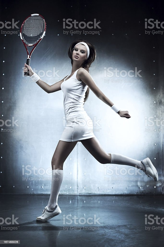 Young tennis player woman royalty-free stock photo