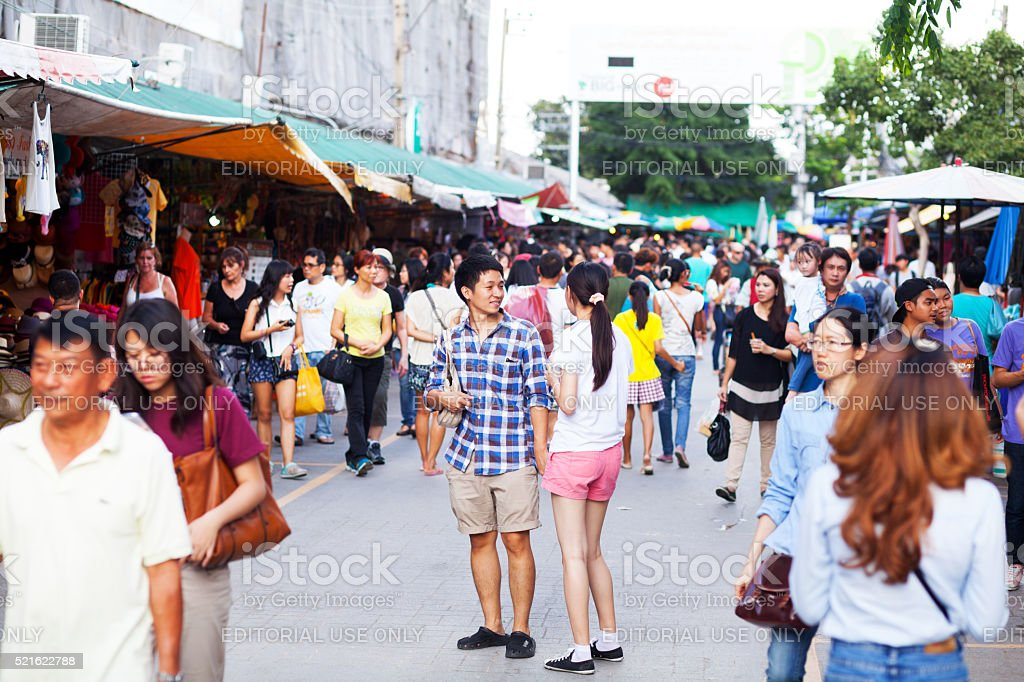 Young thai couple on Chatuchak weekend market stock photo