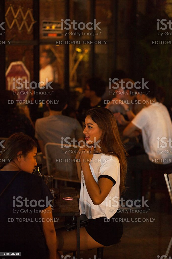 Young thai people at bar on JJ Green market stock photo