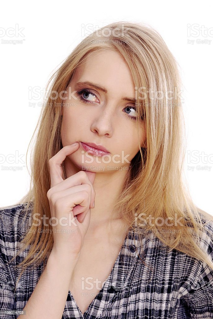 Young thoughtful woman stock photo