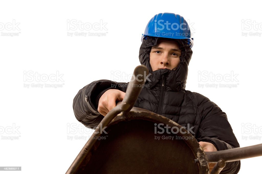 Young thug using wooden chair as a weapon stock photo
