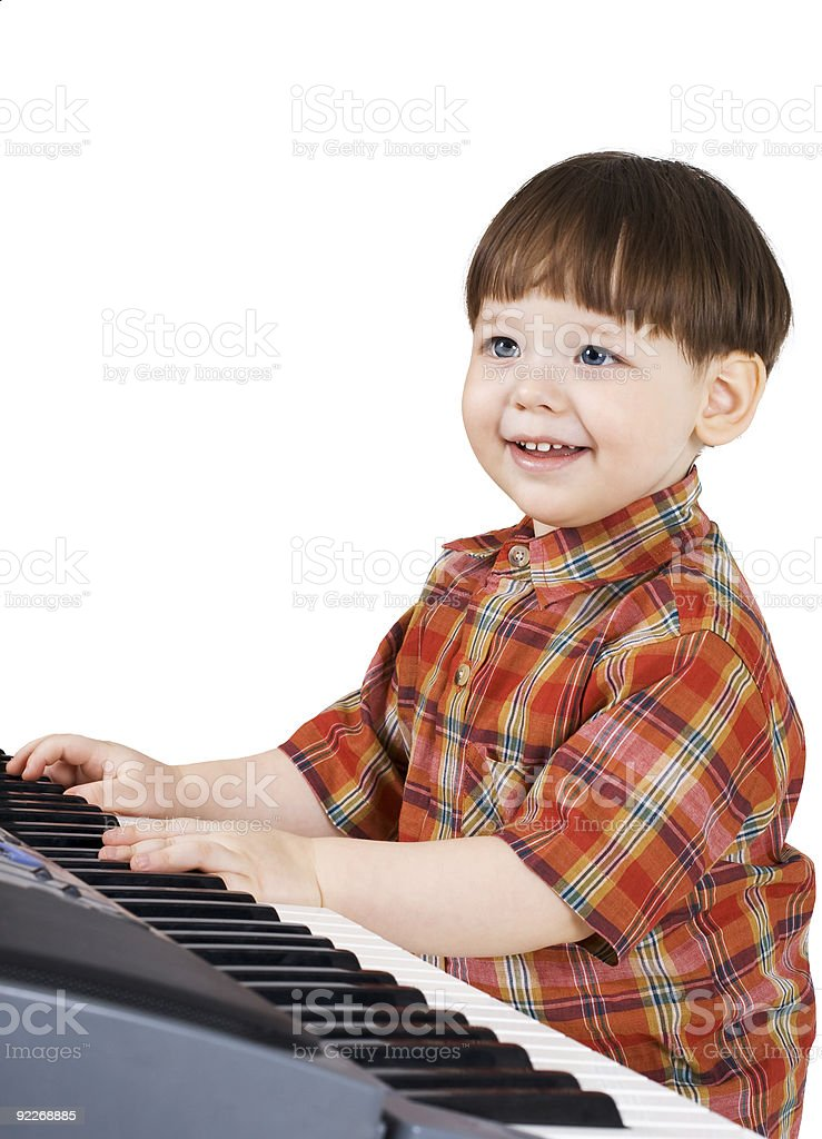 young toddler stu to play music royalty-free stock photo
