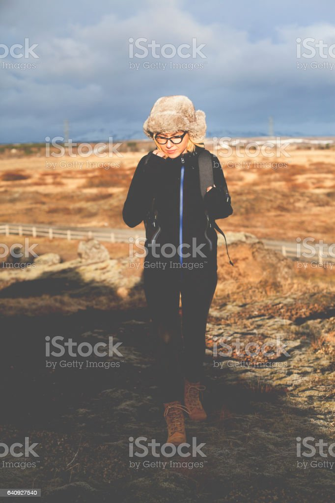 Young tourist exploring Iceland stock photo
