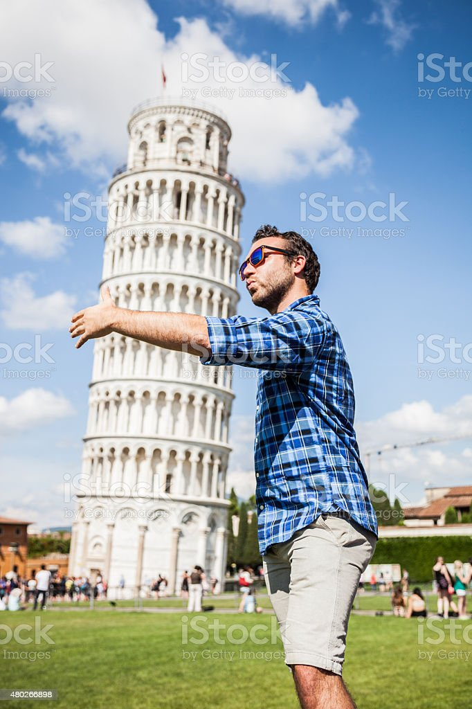 Young tourist having fun in Pisa stock photo