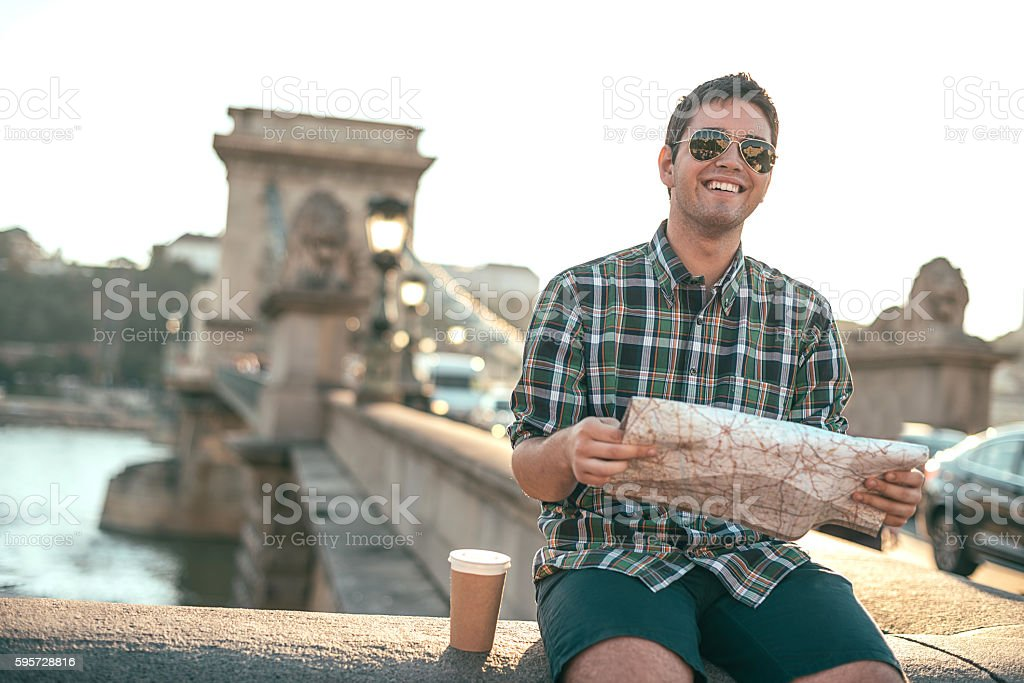 Young tourist in Budapest with map stock photo
