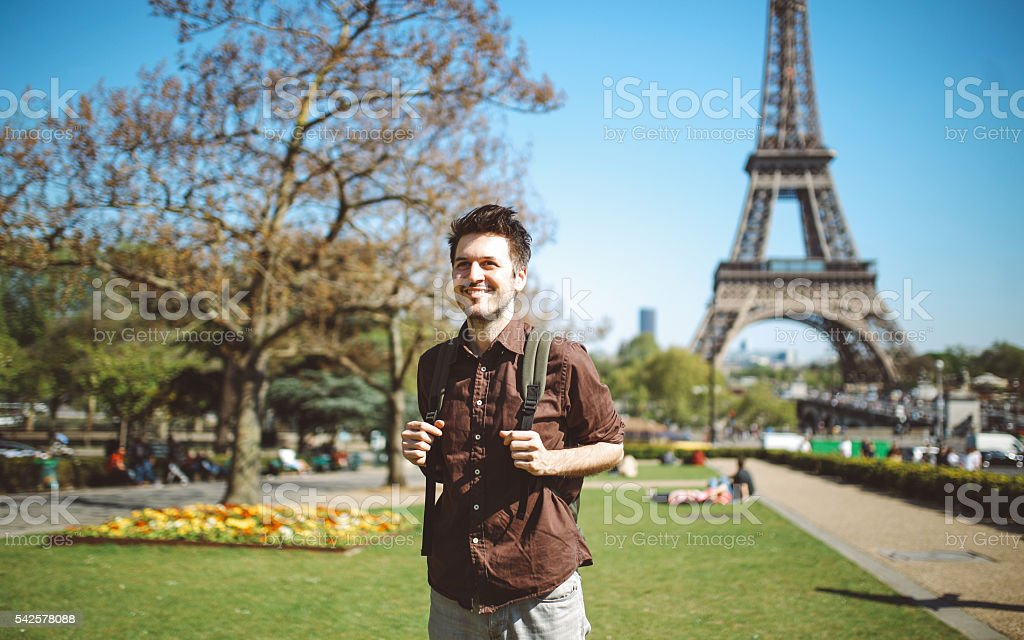 Young tourist man relaxing in Paris stock photo
