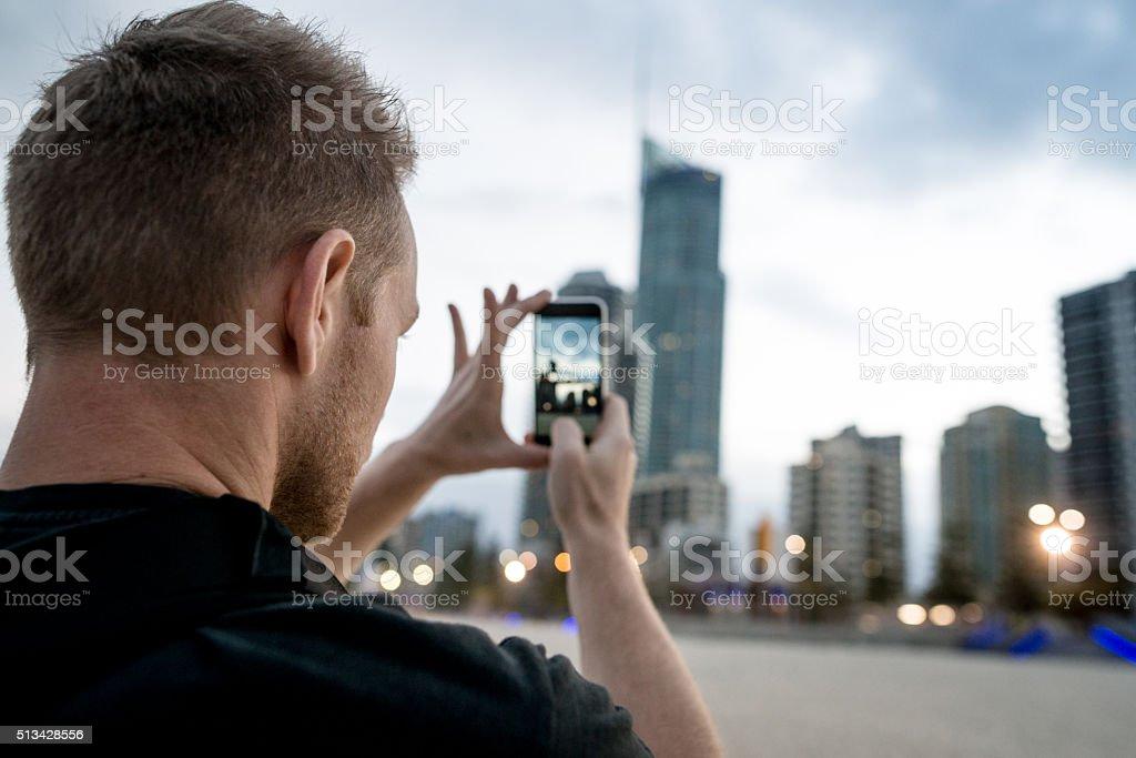 Young tourist shooting Sidney stock photo