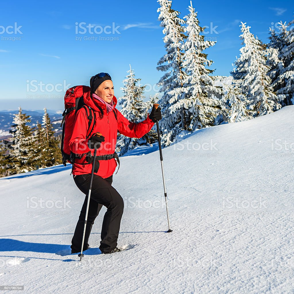 Young tourist trekking during winter stock photo