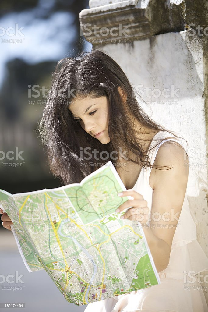 Young tourist with map royalty-free stock photo