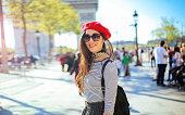 Young tourist woman enjoying Paris