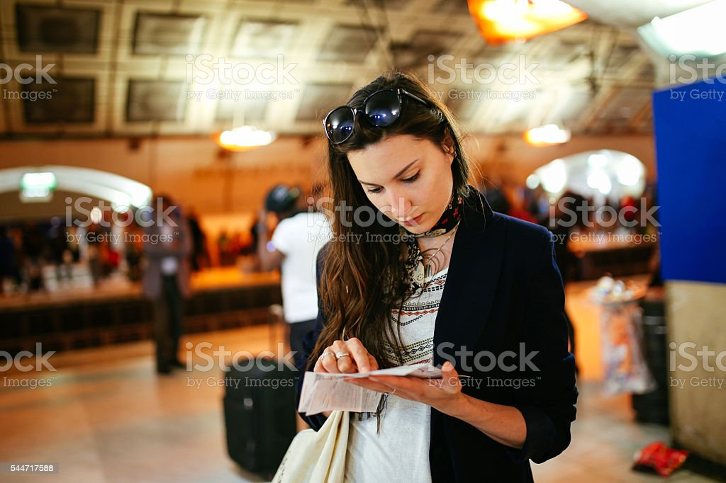 Young tourist woman in Paris metro station stock photo