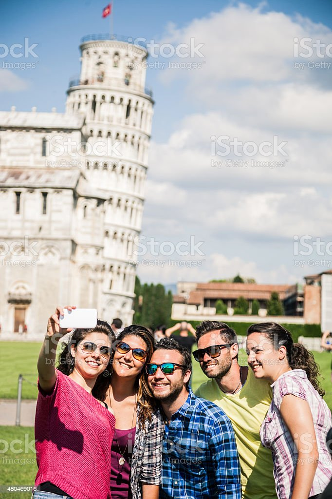 Young tourists having a selfie in Pisa stock photo
