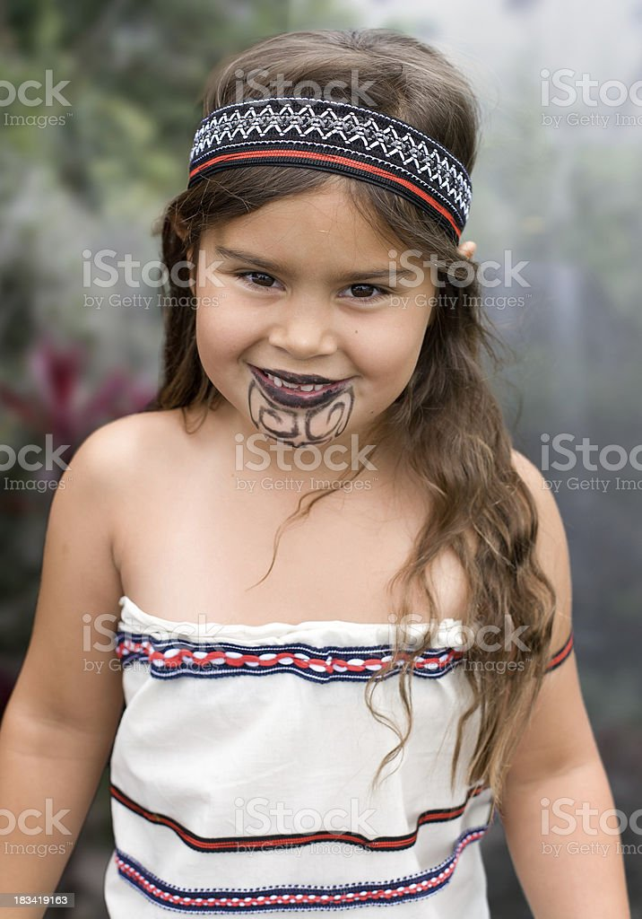 Young Traditional Maori Girl stock photo