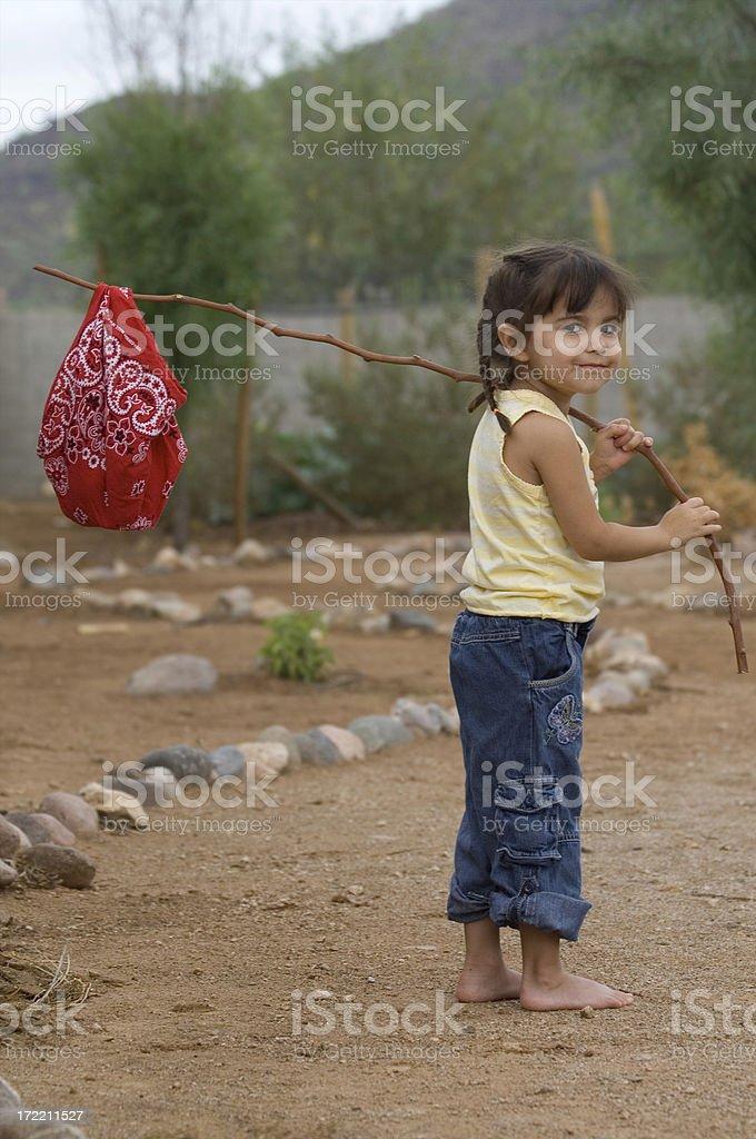 Young traditional runaway girl stock photo