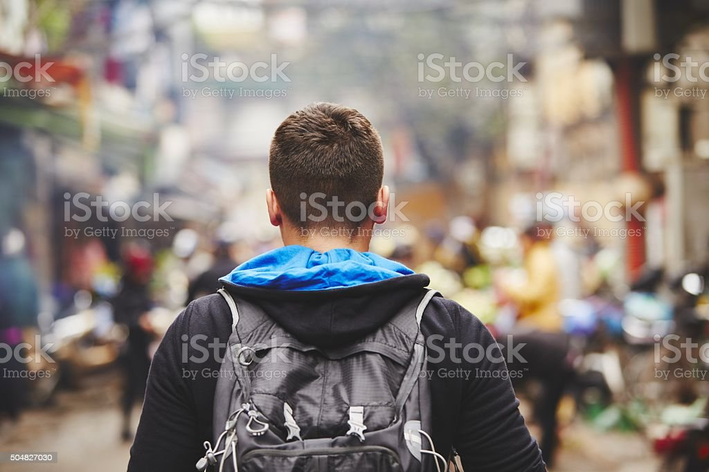Young traveler stock photo