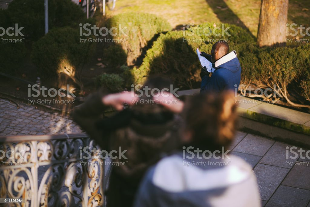 Young Travelers Walking In Public Park stock photo
