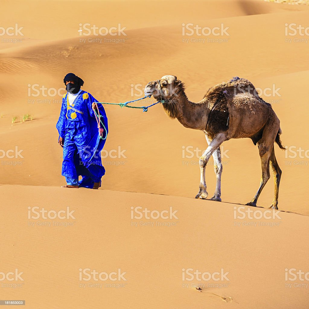Young Tuareg with camels on Western Sahara Desert in Africa royalty-free stock photo
