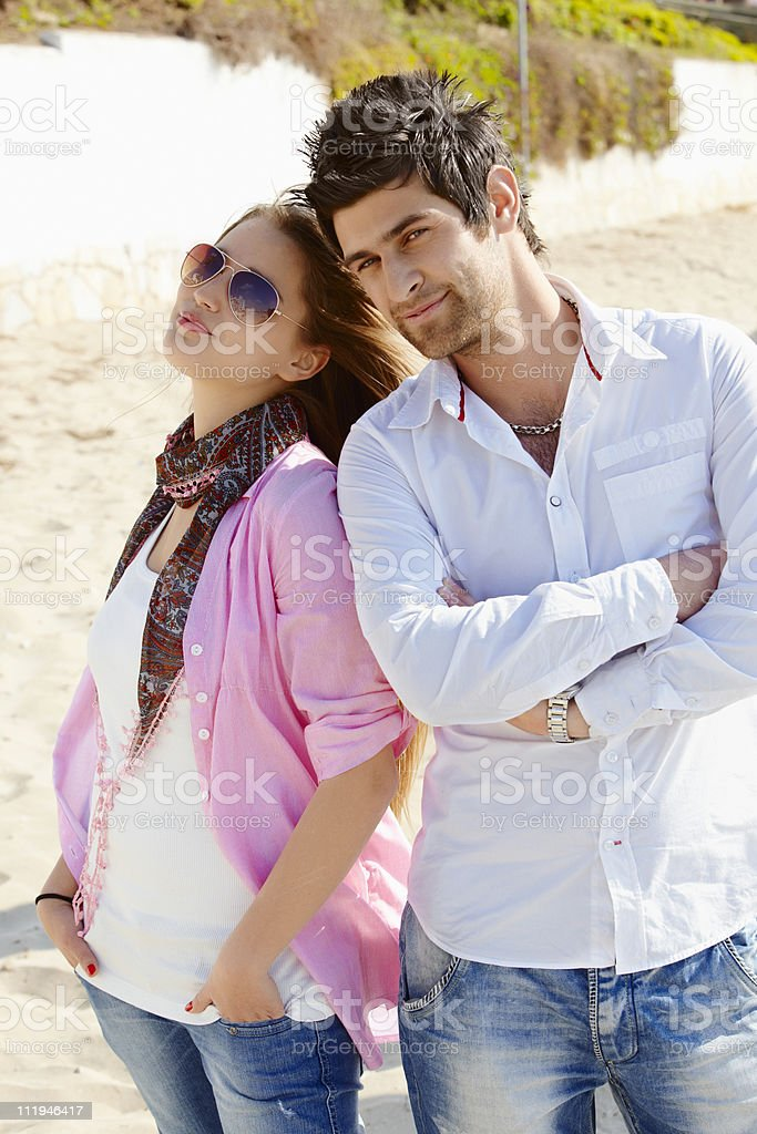 young turkish couple in jeans royalty-free stock photo