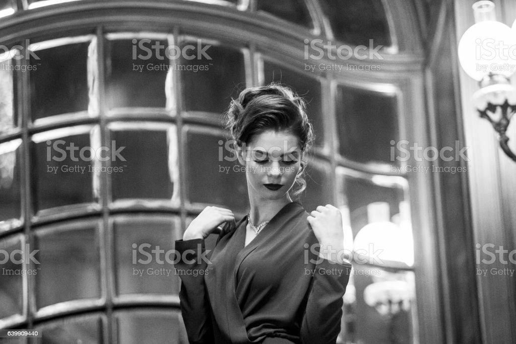 Young ukrainian female model at historical building in  lviv ukraine stock photo