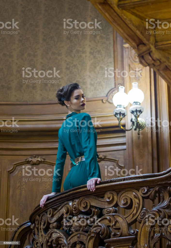 Young ukrainian female model  at historical building in  lviv ukraine stock photo