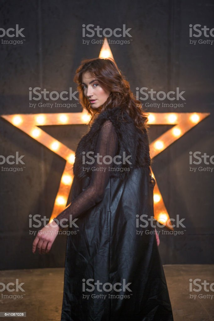 Young ukrainian female model posing at studio in lviv ukraine stock photo
