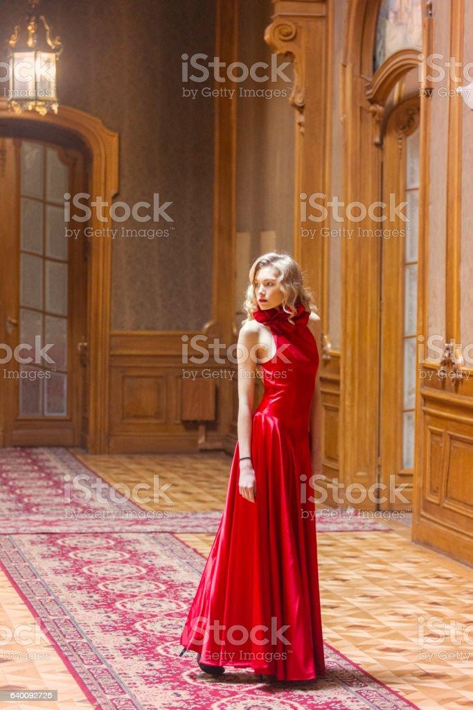 Young ukrainian female posing at historical building in  lviv ukraine stock photo