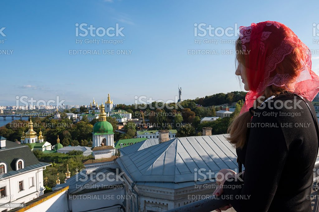 Young Ukrainian woman at the Lavra in Kiev stock photo